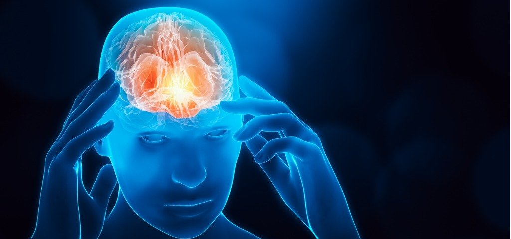 The brain is illuminated in a warm glow in a high-tech human model
