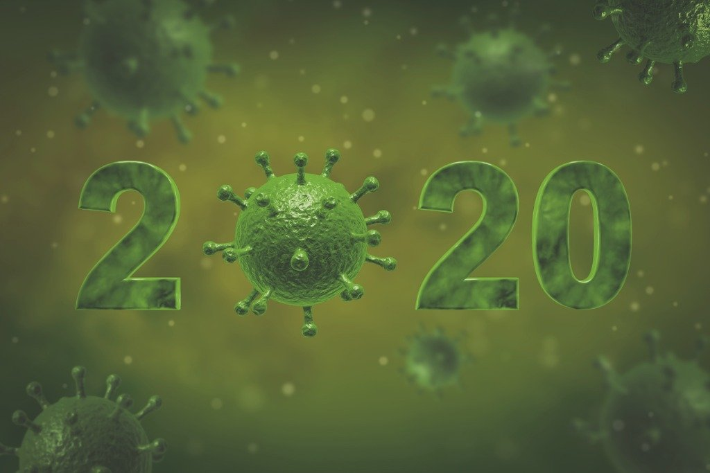 A new decade, a new challenge: green virus spores surround an image of 2020