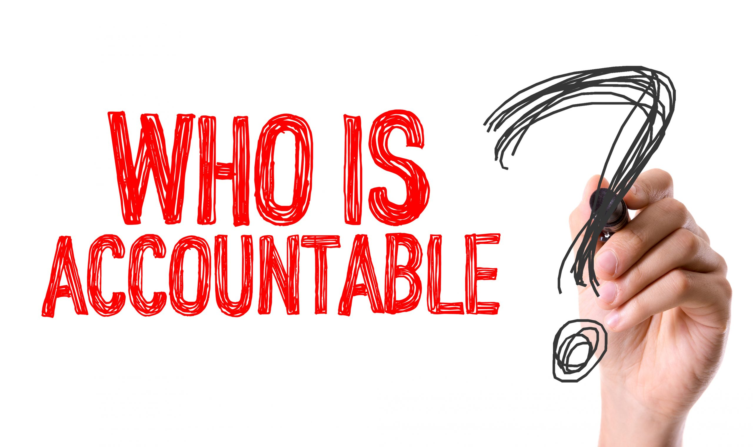 Hand writes who is accountable question mark, compliance, ISO31030